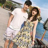 情侶套裝裝韓版百搭寬鬆短袖T恤沙灘蜜月洋裝  全館免運