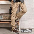 長褲★格紋膠印口袋伸縮休閒長褲(卡其)●...