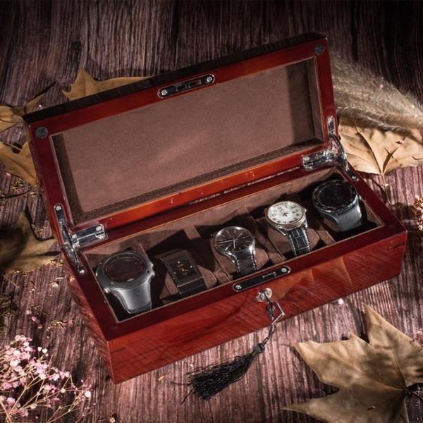 鋼琴烤漆花梨木實木質手表盒五表位機械表收納盒帶鎖
