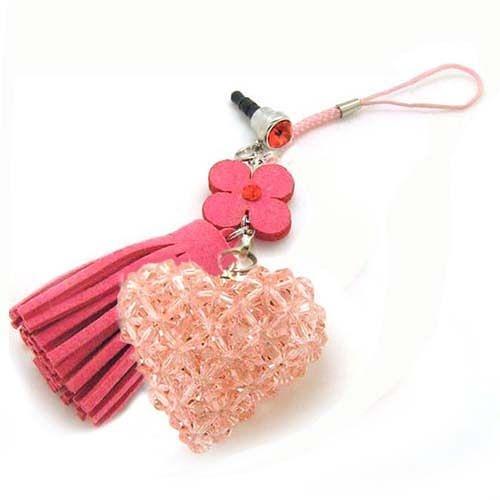 粉紅水晶心與紅花流蘇防塵塞吊飾