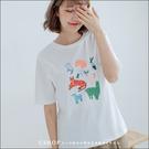 T恤  兒童手繪動物印花棉質T恤  單色-小C館日系