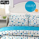 床包兩用被套組 / 雙人【日光仙人掌-藍】含兩件枕套  100%精梳棉  戀家小舖台灣製AAS215