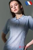 女款短袖POLO衫 夢特嬌法國製造亮絲系列 滿版印花-水藍