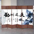 酒店時尚簡約折疊行動屏風布藝現代中式玄關...