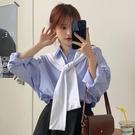 秋季新款韓版寬鬆藍色條紋襯衫女百搭外穿設計感小眾防曬襯衣 【全館免運】