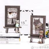 韓式可愛貓咪擺 相框 6寸創意兒童卡通辦公室桌面萌寵木紋像框igo    橙子精品