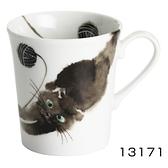 【日本製】 水彩貓咪系列 美濃燒馬克杯 伸展黑貓圖案 SD-6794 - 日本製 美濃燒