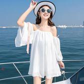 海邊度假裙白色沙灘裙雪紡吊帶露肩小清新一字肩連衣裙女 Mt9308『小美日記』