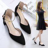 韓版時尚中跟鞋涼鞋學生百搭粗跟單鞋休閒氣質女鞋