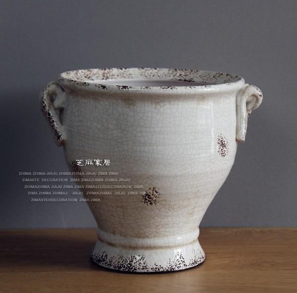 [協貿國際]鄉村風格地中海風冰裂紋做舊白色古樸花瓶