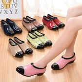鞋女時尚潮流低筒水鞋淺口短筒雨靴膠鞋防滑水靴懶人套鞋【販衣小築】
