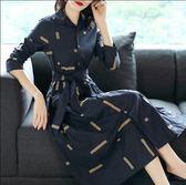 中尺碼長袖洋裝 2019秋裝新款時尚單排扣印花藏藍色大擺裙復古氣質襯衫連身裙