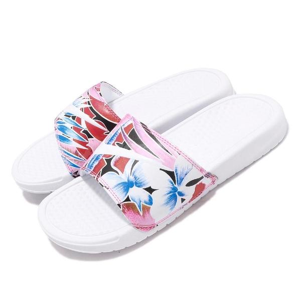 Nike 拖鞋 Wmns Benassi JDI Print 花花 藍 白 花卉 涼拖鞋 女鞋【ACS】 618919-113