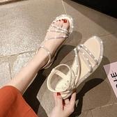 綁帶涼鞋 網紅水鉆涼鞋女夏季2020新款海邊度假平底羅馬鞋綁帶百搭仙女風鞋
