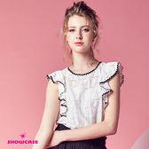 【SHOWCASE】甜美微鏤空蕾絲荷葉袖上衣(白)