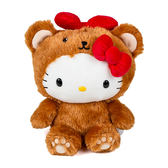 Sanrio HELLO KITTY 8吋絨毛娃娃(裝扮熊熊棕)★funbox★_12774N
