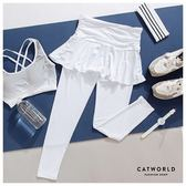 Catworld 輕盈感魚尾裙襬假兩件運動褲【12001962】‧S-XL