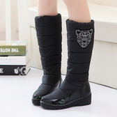 ✿3C 膜露露✿豹紋款靴子羽絨冬靴防水防滑中筒靴女子棉鞋