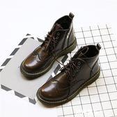 復古英倫風系帶粗跟馬丁靴女布洛克雕花擦色系帶學生休閑單靴中筒    米希美衣