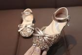 女童單軟底鞋子水晶皮鞋