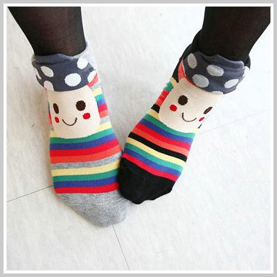 韓國超可愛磨菇笑臉條紋短襪【O2082】☆雙兒網☆Lazy or pretty