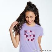 【GIORDANO】女裝英文標語印花短袖T恤-12 迷蒙丁香紫
