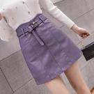 A字裙 2020秋季新款百搭ins超火短裙高腰顯瘦pu小皮裙紫色A字半身裙