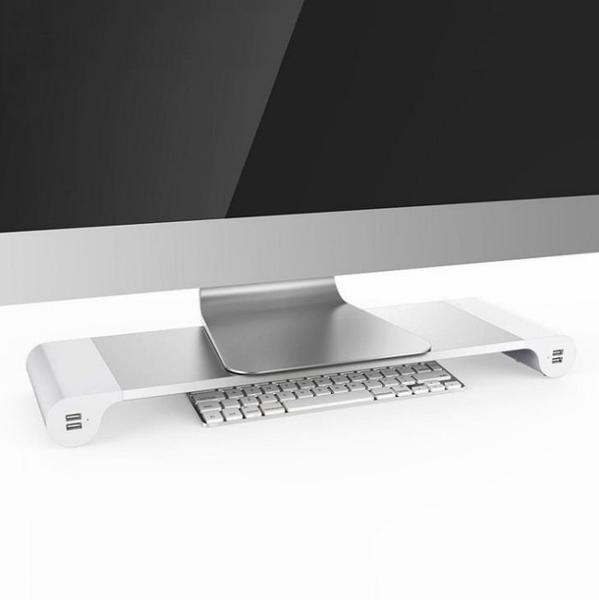 【限郵寄宅配】可充電4孔USB電腦增高架 螢幕收納架/鋁合金螢幕架/螢幕收納架/鍵盤架 鍵盤收納架