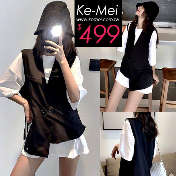 克妹Ke-Mei【ZT53401】BOY男孩風雙排釦不規則卡其西裝背心外套
