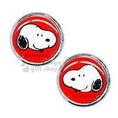 〔小禮堂〕史努比  汽車牌裝飾貼《2入.紅銀.圓形.大臉》不需工具使用容易 4956019-13043