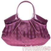 【agnes b】agnes b.紫色亮彩格紋魅力肩背包 AB0B7222