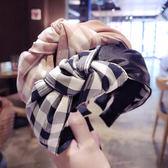 [輸入yahoo5再折!]仿皮PU皮革拼接格紋打結寬版髮箍 DGS001