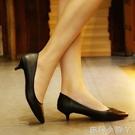 低跟鞋黑色高跟鞋職業女鞋新款通勤簡約百搭3cm低跟單鞋細跟工作鞋 蘿莉小腳丫