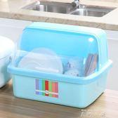 碗櫃塑料帶蓋箱餐具瀝水架廚房置物架碗筷收納盒放碗架碗碟架盤子【米娜小鋪】 YTL