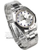 OMAX 閃耀時尚 城市圓錶 銀色不銹鋼帶 藍寶石水晶 鑽錶 男錶 日期視窗 OM4003BD大