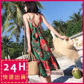 梨卡★現貨 - 度假波西米亞泰國沙灘印花顯瘦連身裙洋裝沙灘裙C6266