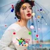 新款韓版黑色白色網紗彩球新娘婚紗攝影結婚寫真拍照頭紗頭飾 晴天時尚館