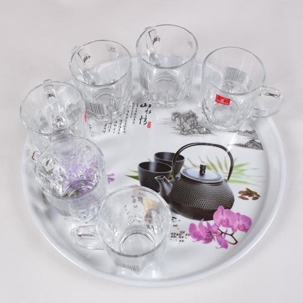 茶具北歐風格密胺茶盤杯盤塑料托盤圓形家用創意水果盤子客廳簡約