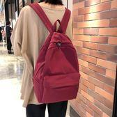 日系書包 古著感少女純色後背包新款韓版風大容量學生背包