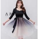 星空漸層網紗短袖小禮服洋裝[98998-...