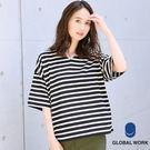 GLOBAL WORK女素色條紋V領落肩寬鬆五分袖上衣-五色