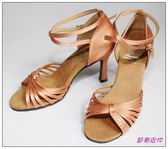 節奏皮件~國標舞鞋拉丁鞋款編號7918 緞面鑲鑽舞鞋膚緞