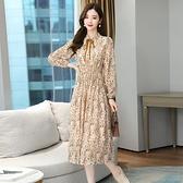 雪紡洋裝裙 法式復古長袖碎花連身裙女2021秋季新款遮肚子超仙森系中長裙 8號店