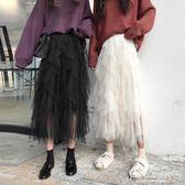 黑色紗裙裙子秋冬學生中長款網紗仙女裙蛋糕裙半身裙女蓬蓬裙長裙【東京衣秀】