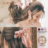 髮飾 韓國直送緞帶蝴蝶結垂墜珍珠彈簧髮夾-Ruby s 露比午茶