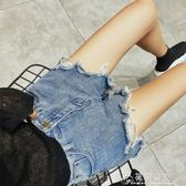 新款破洞牛仔短褲女夏chic韓版百搭高腰顯瘦寬鬆學生闊腿熱褲 花間公主