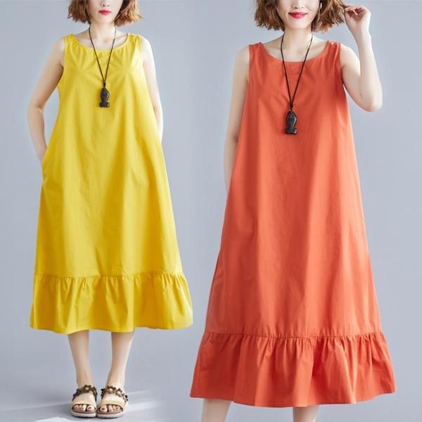 中大尺碼 無袖洋裝 洋氣時尚胖MM寬鬆大碼腰粗顯瘦背心裙文藝減齡小清新無袖連身裙女