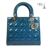 【巴黎站二手名牌專賣店】*現貨*Christian Dior 真品*經典Lady dior 格紋兩用黛妃包(藍)