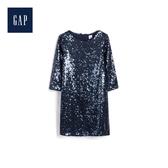 Gap女童休閒圓領長袖洋裝秋季500028-海軍藍色