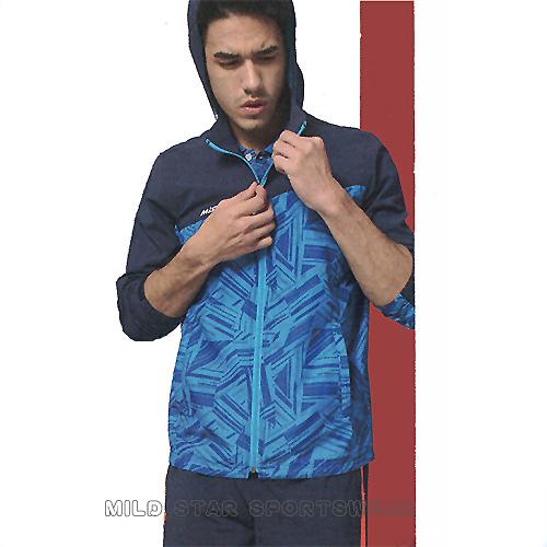 MILD STAR  男女平織網裡連帽運動服套裝[全套]-水藍印花圖騰-JS900203+PS900403